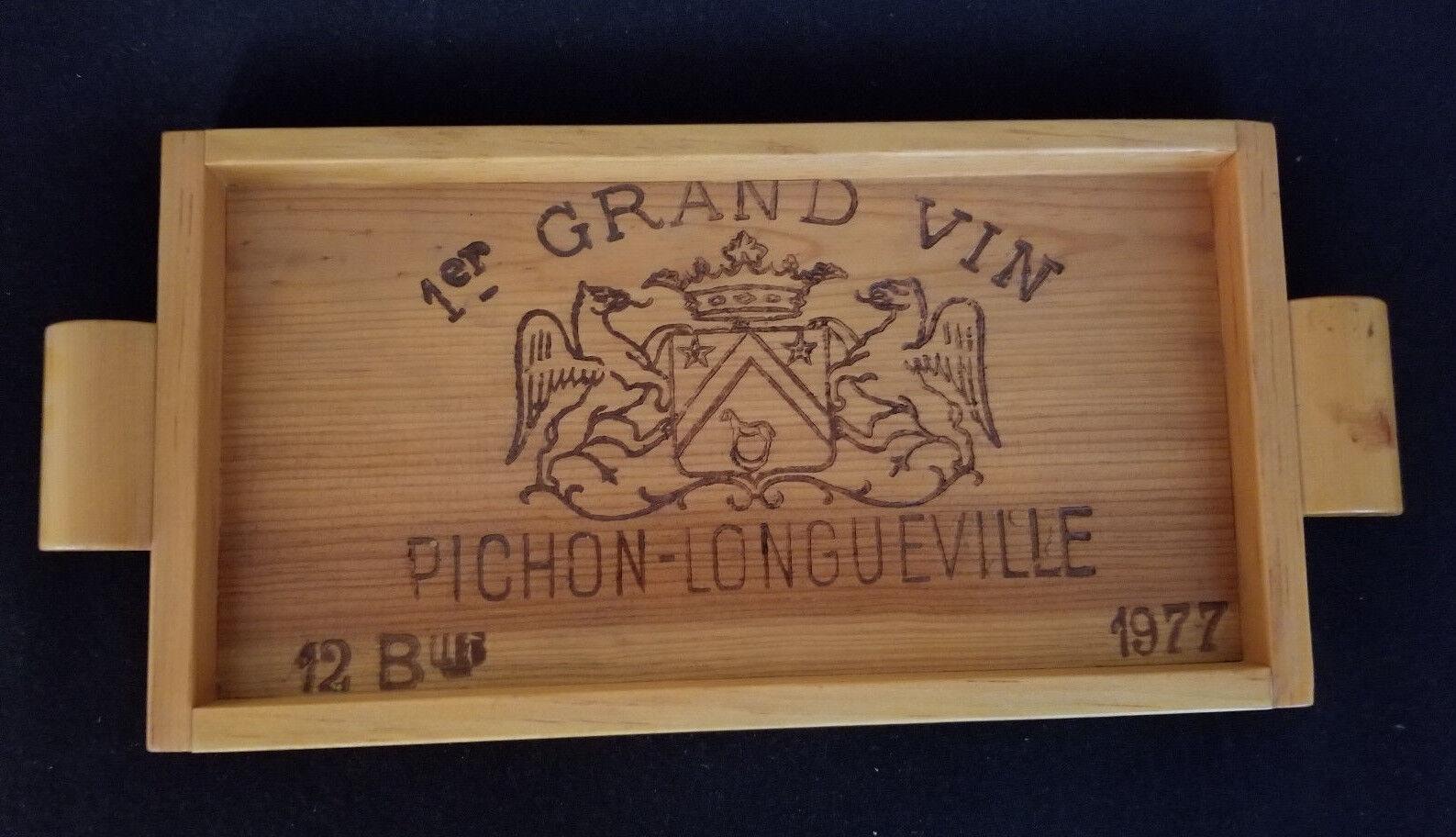Vintage rare vin Cas fin plateau en bois  Grand Vin Pichon-Longueville 1977