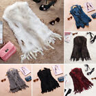 Real Handmade Knitted Rabbit Fur Cape/Vest/Gilet with Fur Tassel Necessary Hot
