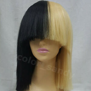 Women s Short Black Blonde Straight Bob Stil Sia Cosplay Costume ... 049f8fabc