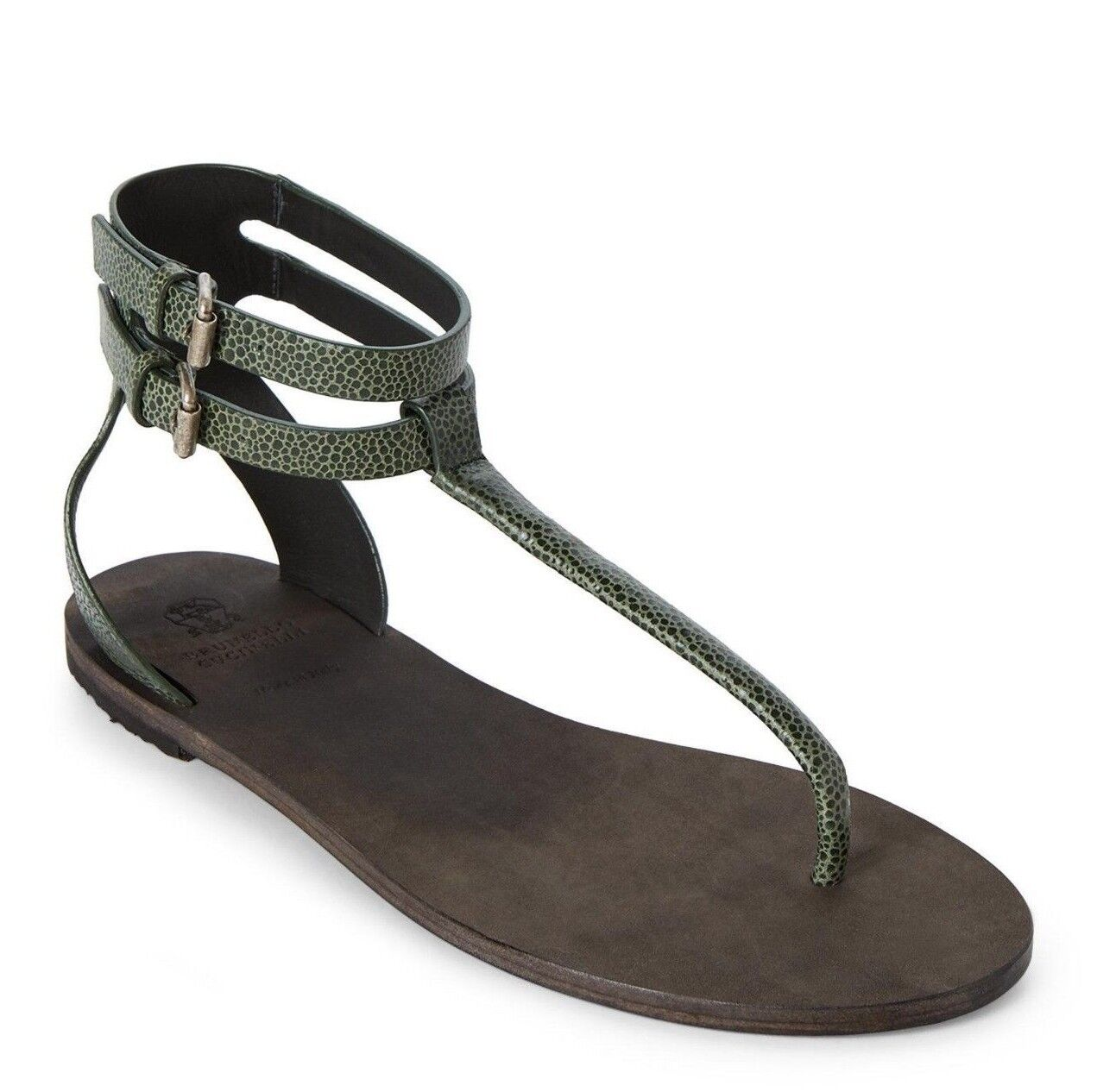 850 BRUNELLO CUCINELLI CUCINELLI CUCINELLI verde Leather T-STRAP Sandals scarpe EUR-37 US-7 ITALY 86d792