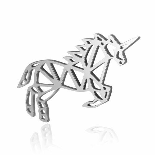 5pcs 201 Stainless Steel Filigree Unicorn Charms Hollow Cute Dangle Pendant 14mm
