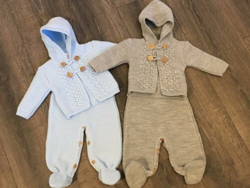 baby babies babys girls boys knitted dungaree /& hooded jacket blue grey outfit