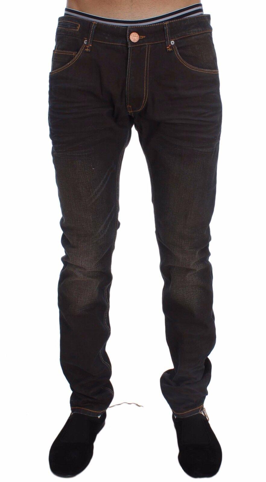 Nuovo Acht Jeans Marronee Lavaggio Cotone Elasticizzato Pantaloni Slim Fit da