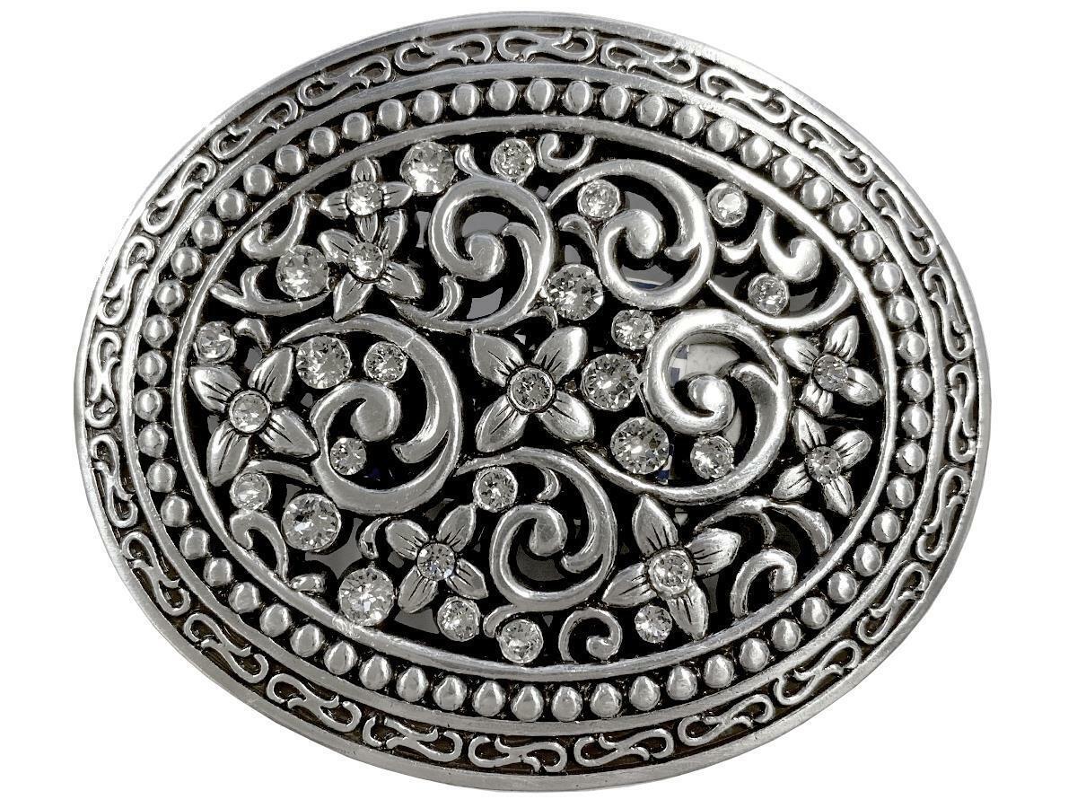 Antique Silver Engraved Rhinestone Crystal Belt Buckle Fits 1-1/2