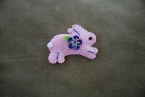 Hand-made-Rabbit-Bunny-Felt-Sequined-Brooch-100-CHARITY