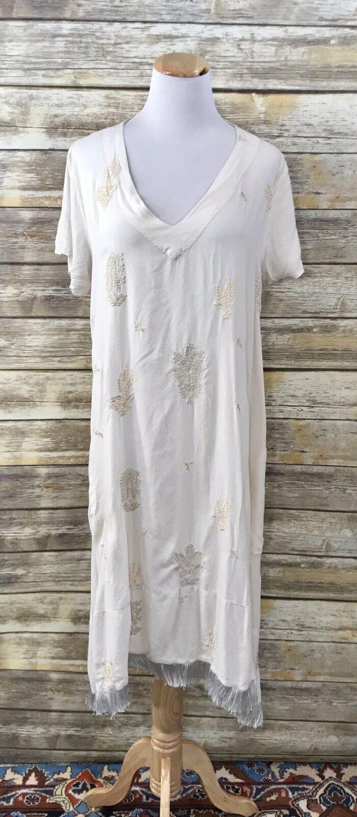 Ruby Yaya Women's Bohemian Dress Tunic  Ivory Embroidered Beach Dress L Coverup