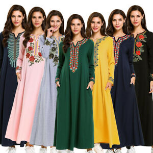 Dubai-Women-Abaya-Muslim-Embroidery-Dress-Cocktail-Maxi-Kaftan-Loose-Robe-Jilbab