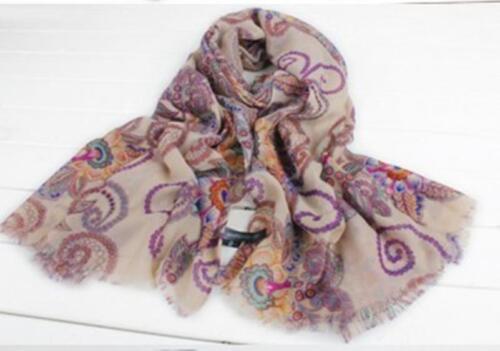 Women Lady/'s Scarf Retro Bohemian Flowers Shawl Long Neck Cotton Wrap