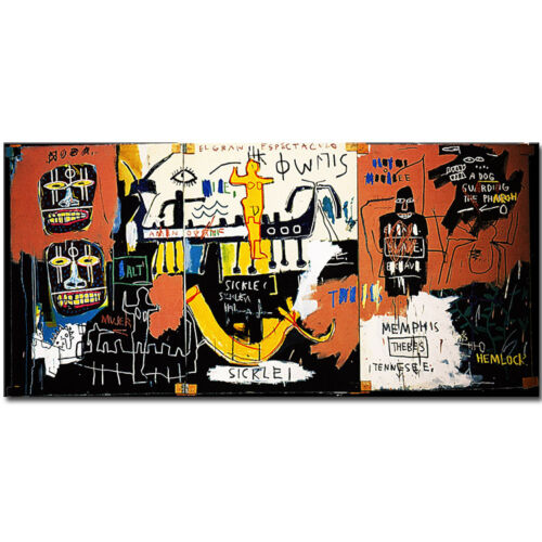 "Jean-Michel Basquiat ""The Nile"" HD print on canvas large wall picture 48x24"""