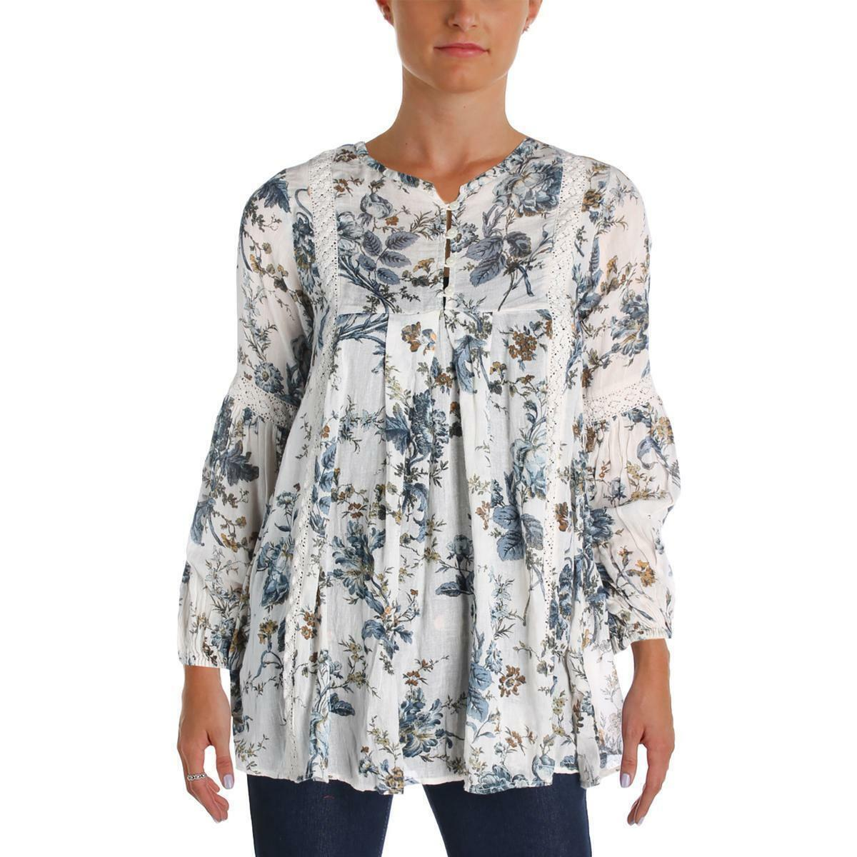 Denim & Supply Ralph Lauren Damenschuhe Ivory Floral Lace Inset Gauze Tunic Top S