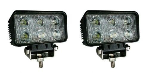 2x 18W Weiß 6 LED Scheinwerfer 10-30V IP67 Arbeitslicht Traktor Kran Schlepper