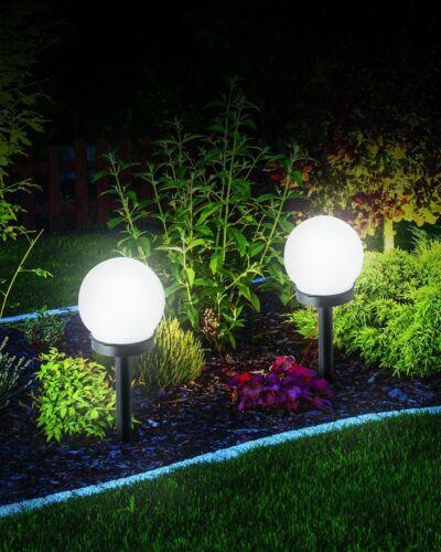 Large White Globe Solar Powered Garden Lights Stake Post Lamp Modern Ball Round
