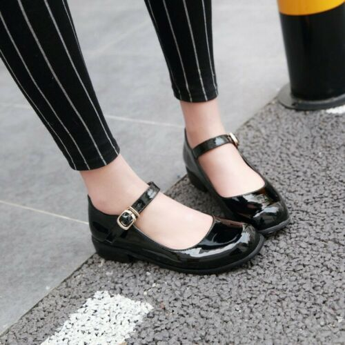 Ladies Flat Mary Jane Strap Shoes Lolitta Buckle Pumps Plus Size Patent Leather