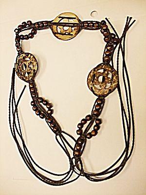 Diplomatico * Vintage Unisex Tanga Dedicarmi Al Macramè Perlina Guscio Di Cocco Marrone Cintura Hippy Boho Festival-mostra Il Titolo Originale