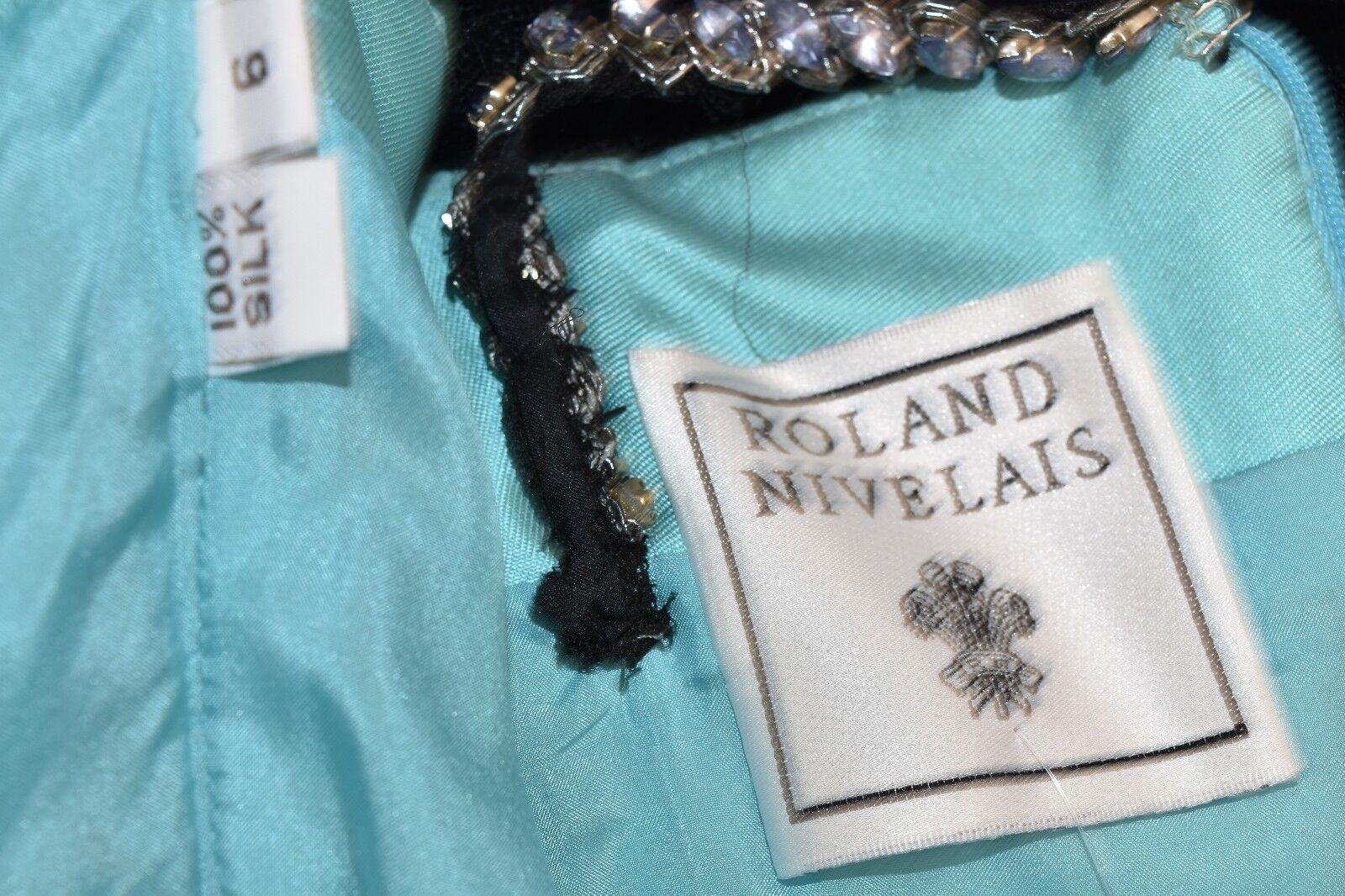 Neu Neu Neu Roland Nivelais Kristall Schmuck Seide Schwarz Grün Tüll Kleid 6 6badd5