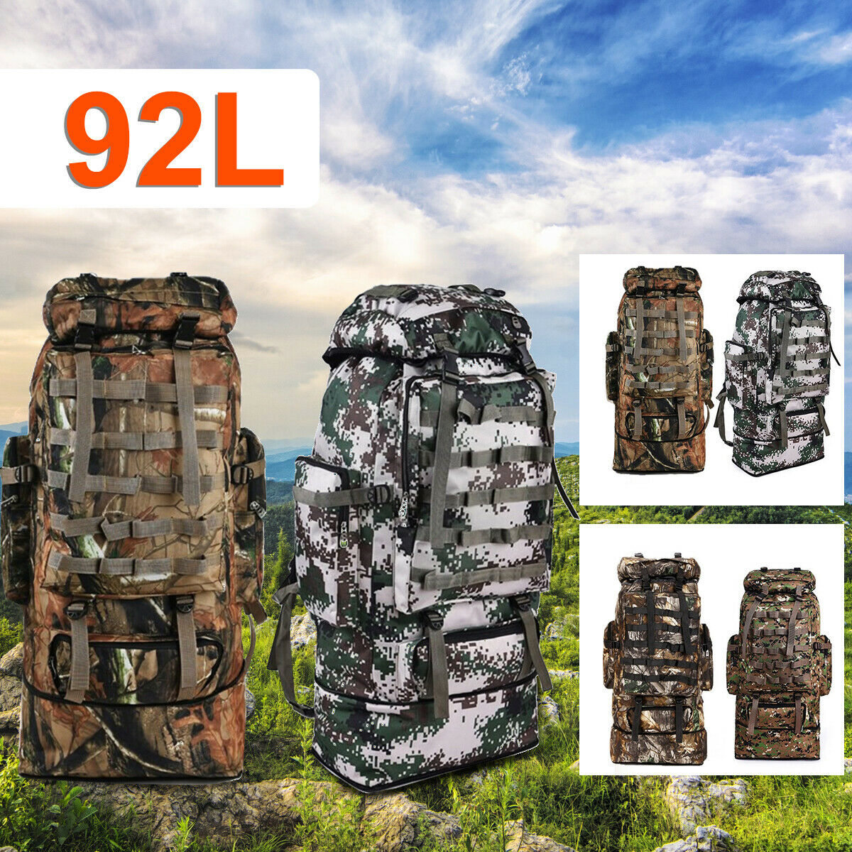 92L Men Outdoor Military Tactical Bag Camping Hiking Trekking Backpack... - s l1600