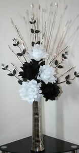 Artificial silk flowers black white flower arrangement in silver image is loading artificial silk flowers black amp white flower arrangement mightylinksfo