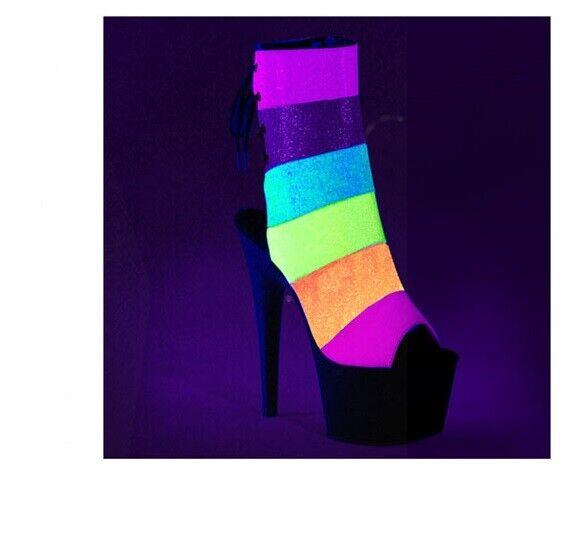 7  Rainbow Unicorn EDM Festival Fashion Platform Stripper Heels Pleaser shoes