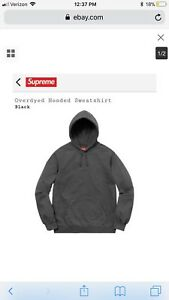 5ec03bf3685e Image is loading Supreme-SS18-Overdyed-Hoodie-Black-size-Large-L-