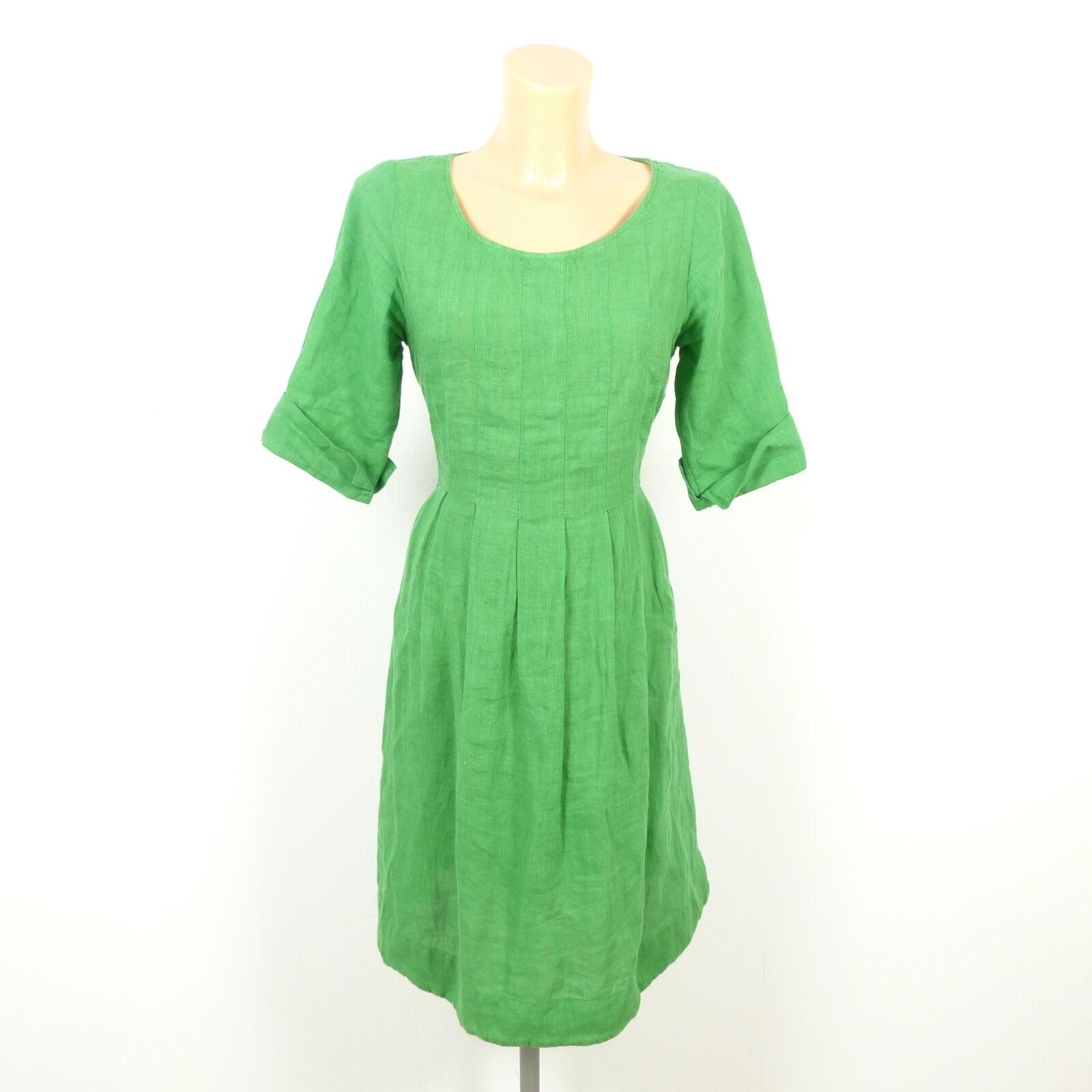 DEERBERG Kleid Dress Damen Tunika Bluse Grün Leinen Gr. S 36