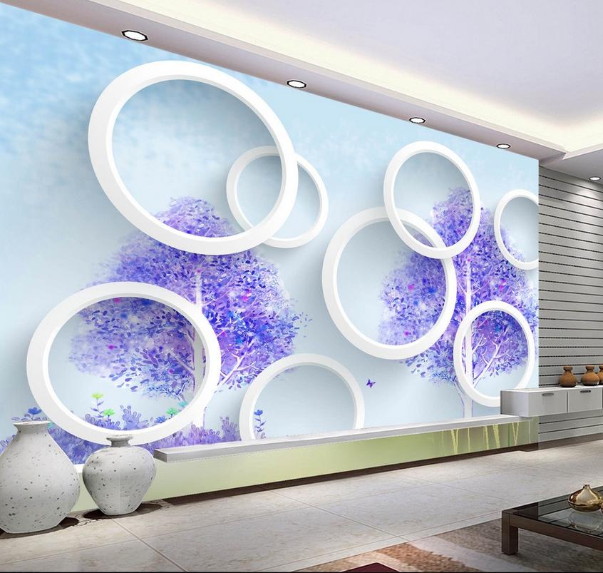 3D Circle lila Flowers 83 Wallpaper Mural Paper Wall Print Wallpaper Murals UK