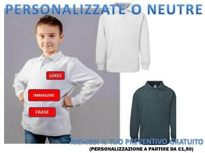 Polo Bambino Manica Lunga In Cotone Bs Maglietta Bambino Persolizzabile Abbigliamento E Accessori