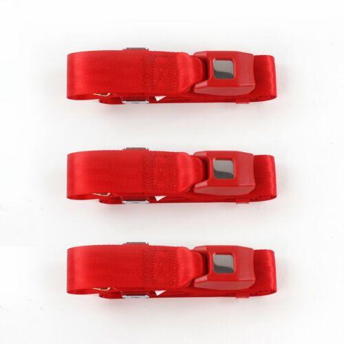 VW Type 1 1968 1983 Standard 2 Pt Red Lap Bench Seat Belt Kit 3 Belts seatbelt