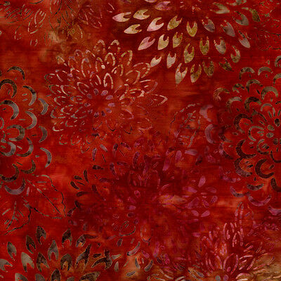 Bloom Flowers Ember Asian Legacy 3Lunn Studios Batik Quilt Fabric KAUFMAN