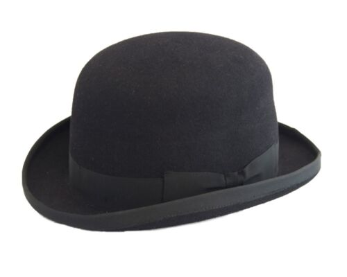 Mens Ladies100/% Wool Hand Made Hard Bowler Hat Black 4 sizes