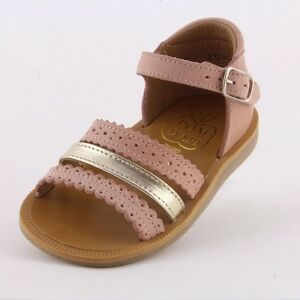 1cb9b78efaaf Pom d Api Poppy New Ethnic pink gold leather girl s sandal with ...
