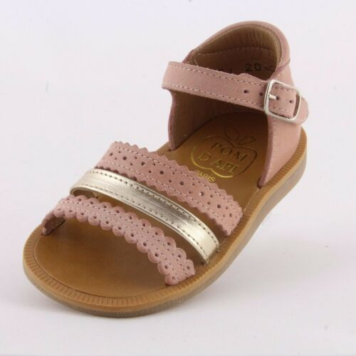 Pom d/'Api Poppy New Ethnic pink//gold leather girl/'s sandal with enclosed heel