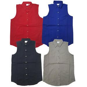Blue-Pointe-Women-039-s-100-Cotton-Pointed-Collar-Button-Down-Sleeveless-Top