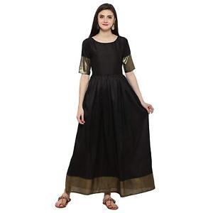 Adroit Black Pakistani Bollywood Anarkali Kurta Kurti Parti Designer Robe Femmes Tunique-afficher Le Titre D'origine