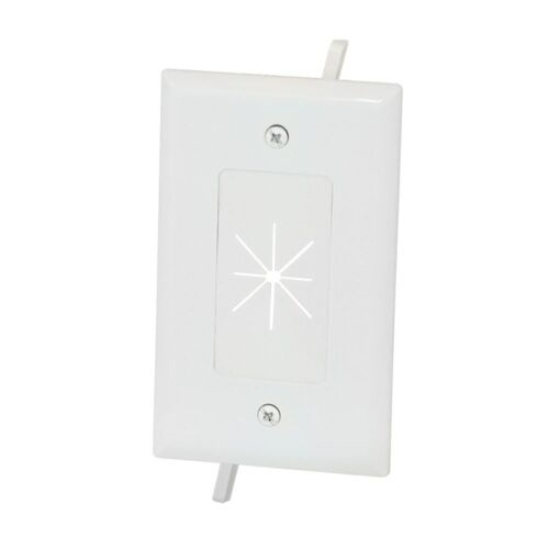 1-Gang Wall Plate Low Voltage Split Flexible TV AV Cable Pass Through White