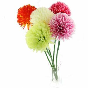 Single xl pompom mum flower artificial silk flowers long stemmed image is loading single xl pompom mum flower artificial silk flowers mightylinksfo