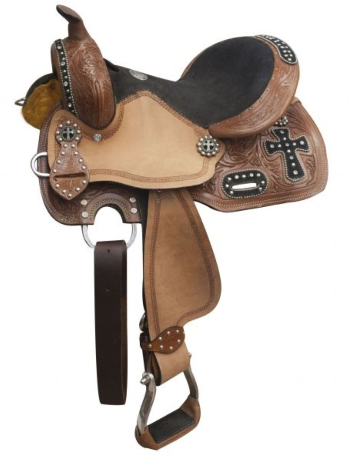 10  Double T Youth Barrel Style Western Saddle W  Cross Design & Rhinestones