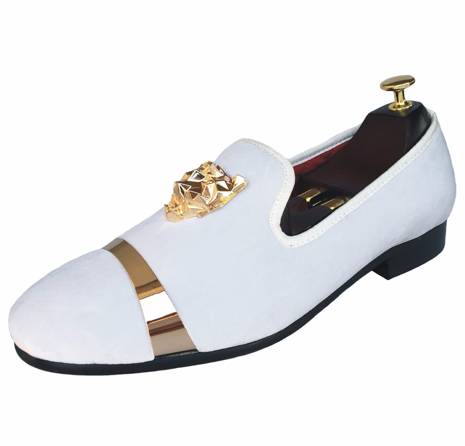 Mens Velvet Loafers Slippers Flats With Gold Buckle Slip-on Wedding ... 29402c805623