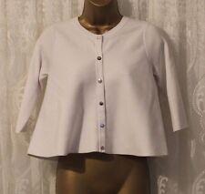 Karen Millen Round Neck White Popper Knit Jumper Cardigan Top XS 8