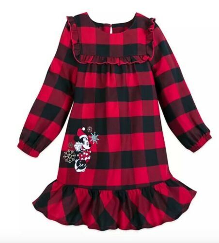 New Disney Store Minnie Mouse Holiday Red Plaid Nightshirt Girls 3 4 5 6