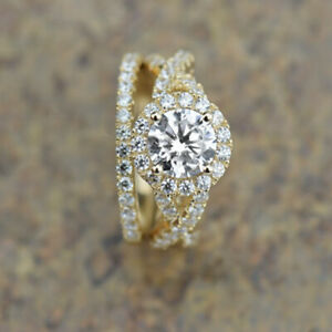 2.15 Ct Round Moissanite Band Set 14K Solid Yellow Gold Wedding Ring Size 4.5 5