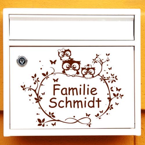 12295 mural-Loft ® Boîte aux lettres Autocollant Hiboux Famille Wunschname AST branche