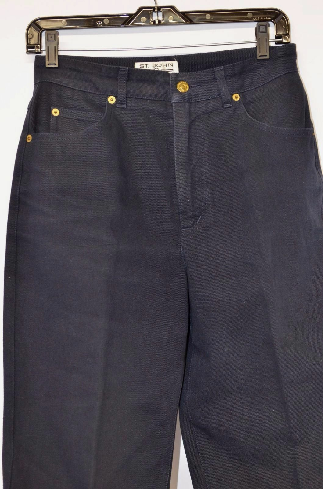 St. John Size 6 Signature Jeans Navy bluee Pants gold Tone Hardware Casual Day
