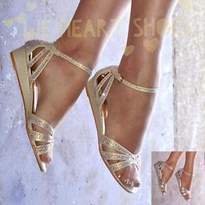 chaussures pour femmes talon bas Sandales compensées bride cheville brillant