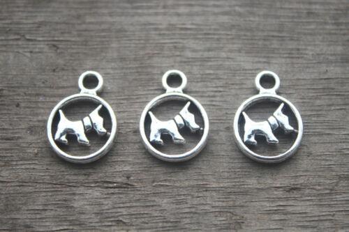 Perro Charms de plata encanto//Colgantes Perro Perro - 25 un suministros para armar uno mismo de bebé 21x15mm