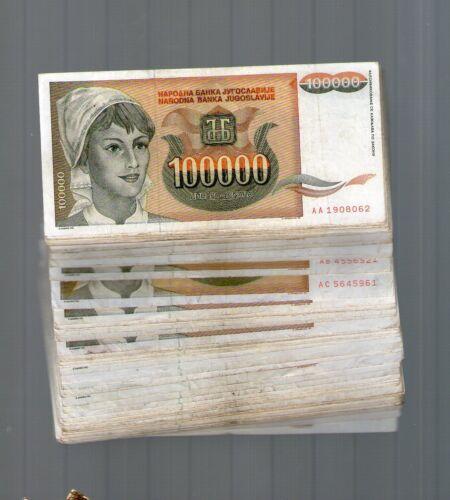 YUGOSLAVIA 100000    DINARA  1993 .G FULL BUNDLE 100 BANKNOTE