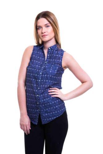 P40 Ex Fat Face Dark Navy Blue Printed Cotton Button Down Collar Vest Top 6-18