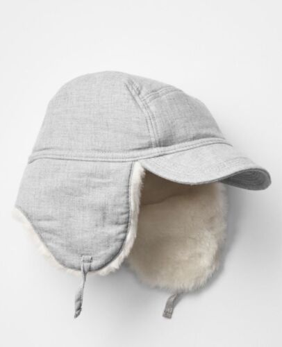 Ivory Faux Fur Lined Trapper Hat GAP Baby Boys Size 6-12 Months NWT Light Gray