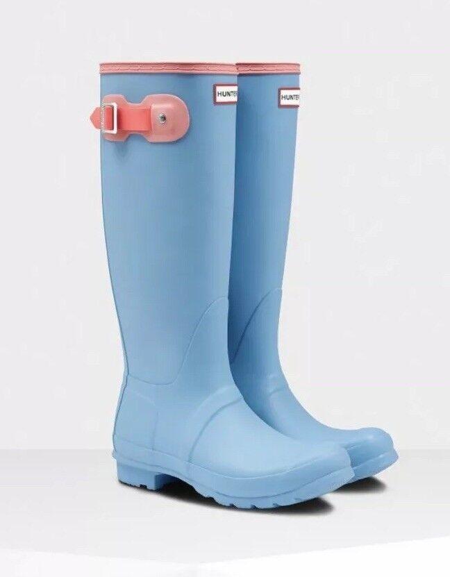 vendita online risparmia il 70% NEW HUNTER donna Rain stivali ORIGINAL coloreBLOCK TALL stivali stivali stivali PALE blu rosa 9M  marchi di moda