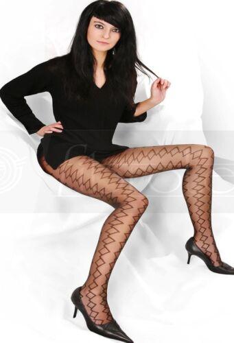 Strumpfhose patterned Karos schwarz T-Band Damen Tights Pantyhose Fibrotex S M