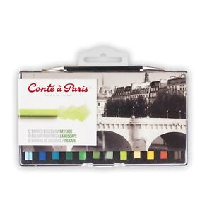 Conte-a-Paris-Artists-Colour-Pastel-Crayons-Set-of-12-Landscape-Colours